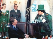 Pres. Reagan receiving his shamrock in the Oval Office, St. Patty's Day 1983