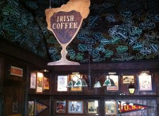 Current shot of old irish coffee sign and ceiling